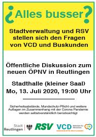 Das neue ÖPNV Konzept in Reutlingen - «alles busser?» @ Stadthalle (kleiner Saal)